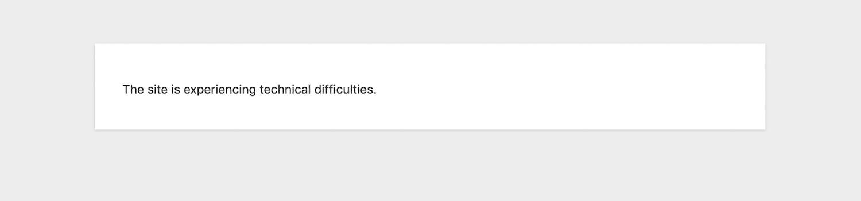 """""""Webstedet oplever tekniske vanskeligheder."""" besked på frontend"""