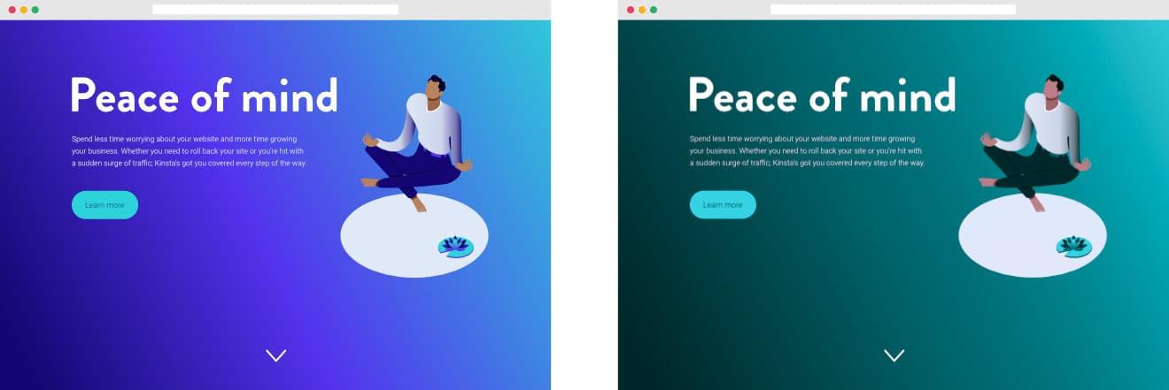 Eksempel på, hvordan et almindeligt design ser ud for farveblinde brugere