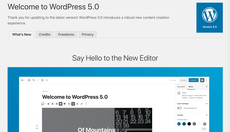 WordPress 5.0-velkomst meddelelsen