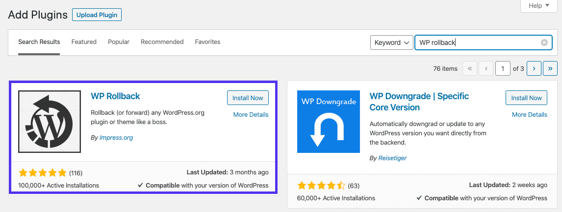 Installation af WP Rollback-plugin