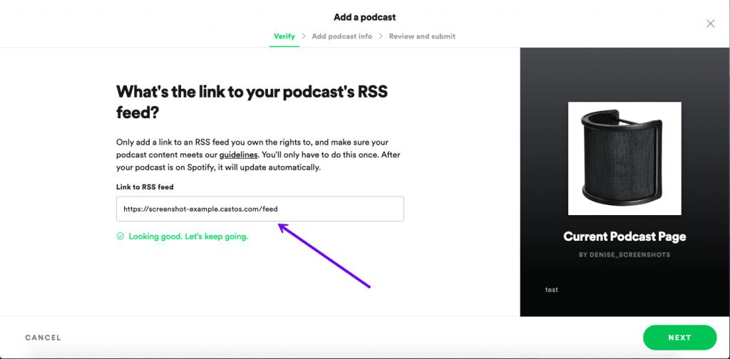 Indsend en podcast til Spotify vis RSS feed