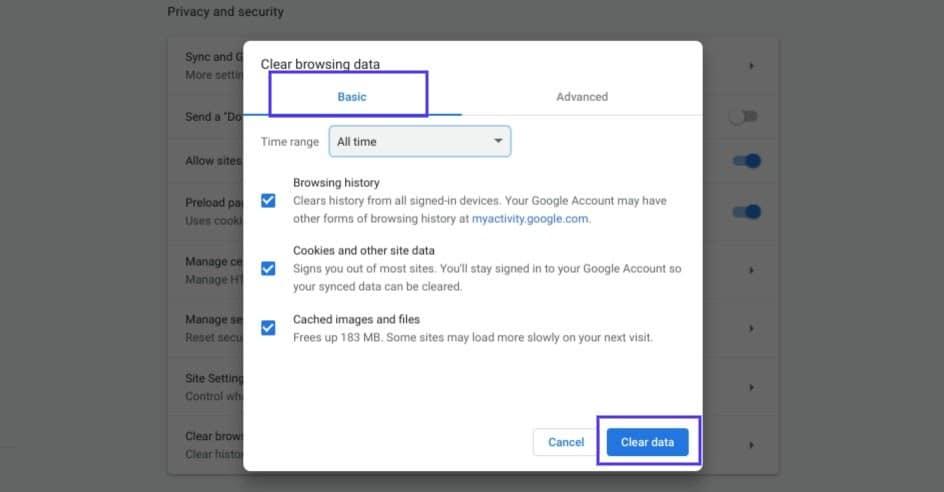 Det rene browserdatavindue i Chrome