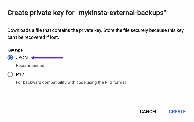 Opret et JSON-nøglepar til din servicekonto.