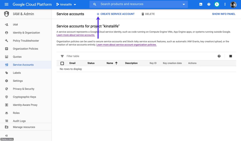 Klik på knappen Opret servicekonto.