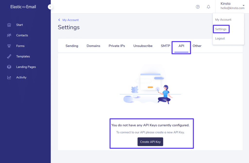 Opret en Elastic Email-API-nøgle
