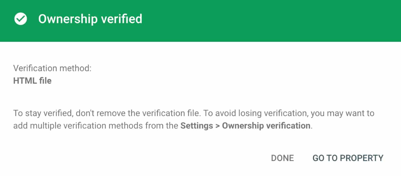 KinstaCDN verificeret i Google Search Console.