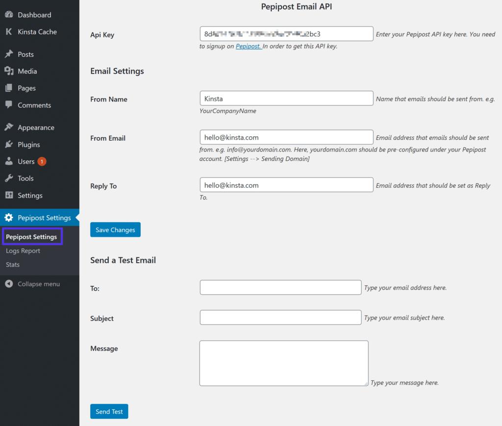 Føj API til Pepipost-plugin-indstillinger