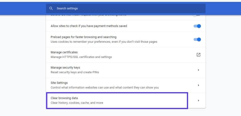 Indstillingen til at rydde browserdata i Google Chrome