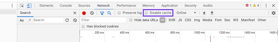 Deaktivering af Chrome-cache