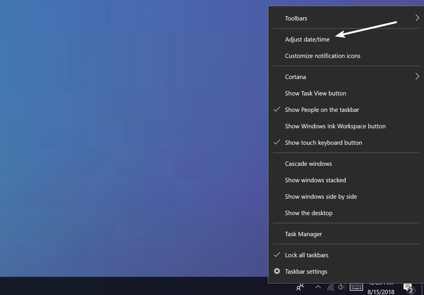 Juster dato og tid i Windows