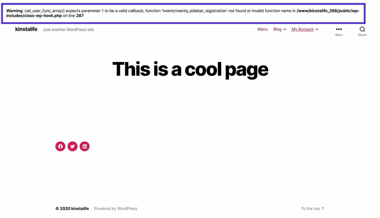 En PHP-fejl med WordPress-fejlfindingstilstand aktiveret.