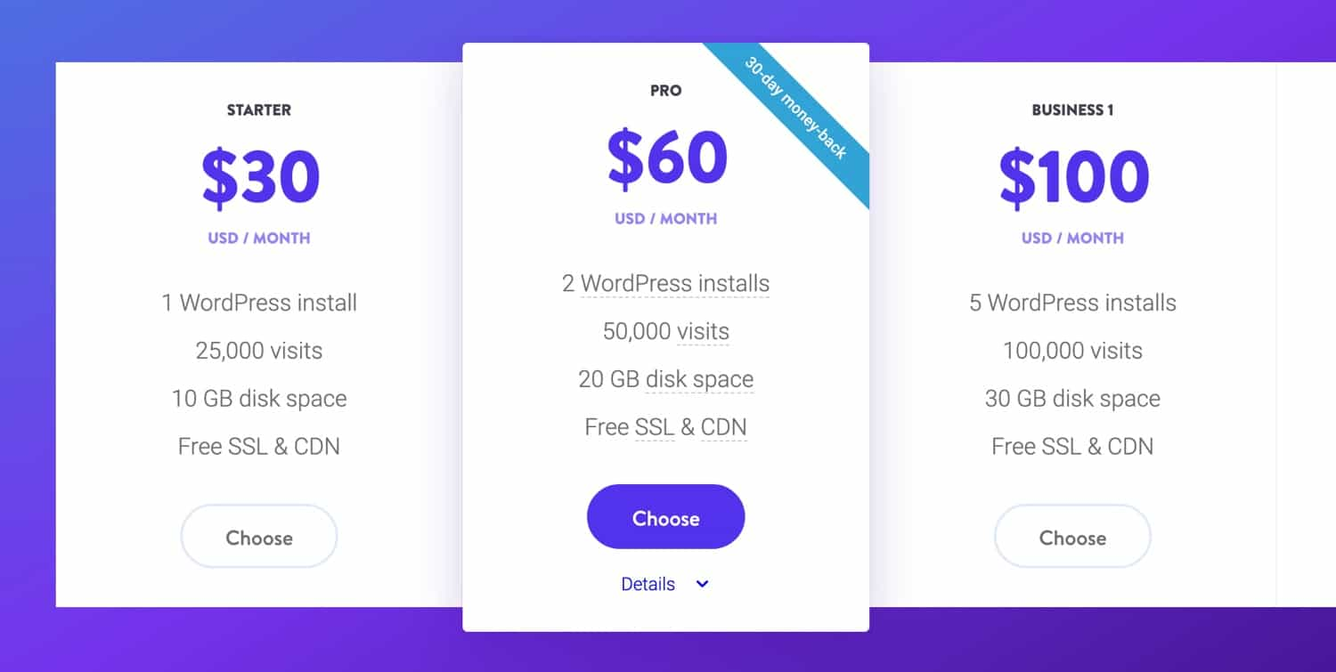 Kinsta WordPress hosting pricing