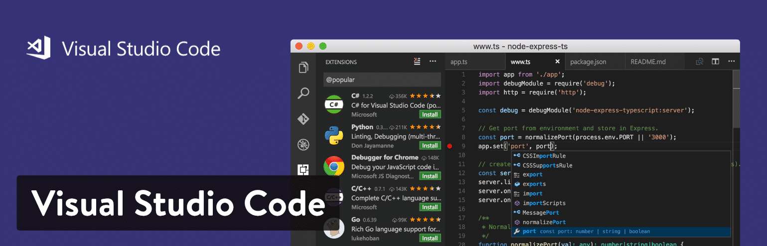 Visual Studio Code teksteditor