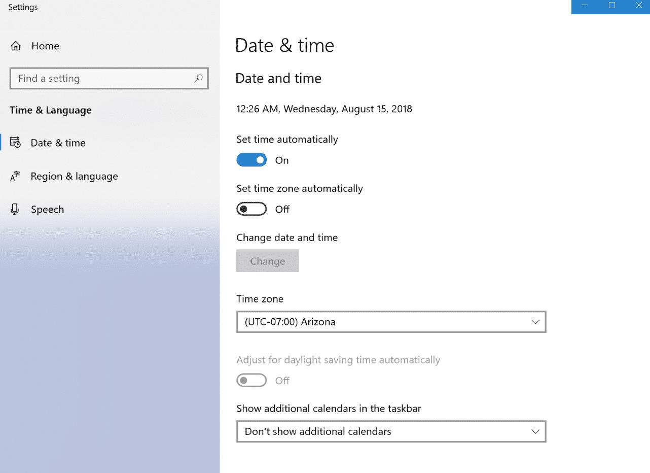 Windows tidszone