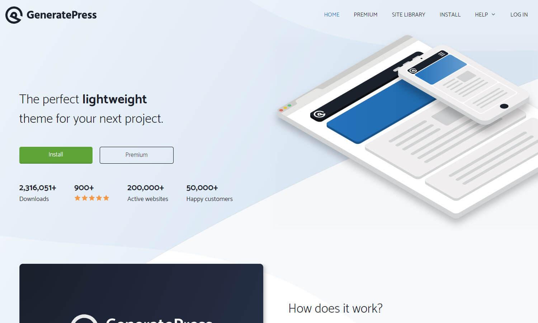 GeneratePress captura de pantalla