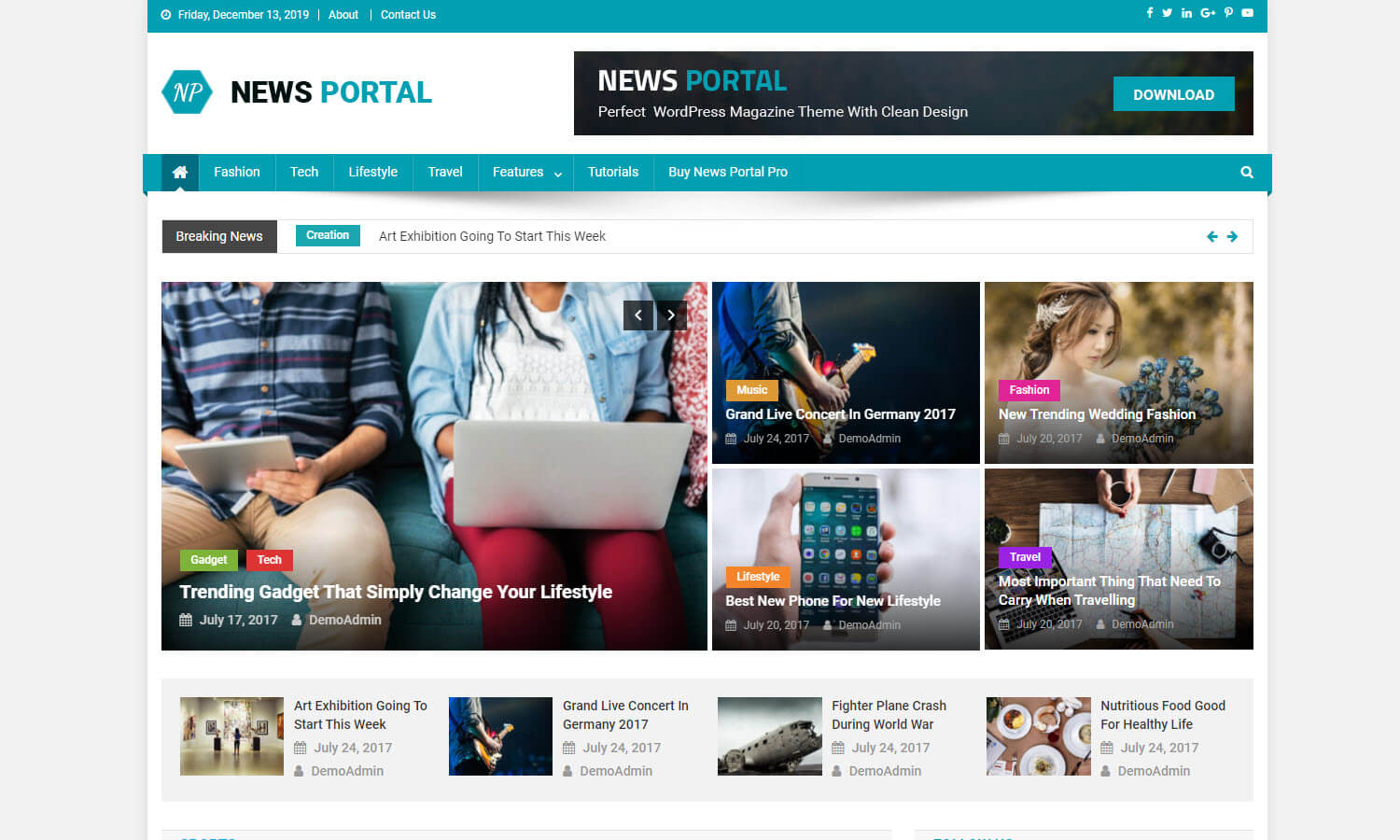 News Portal captura de pantalla