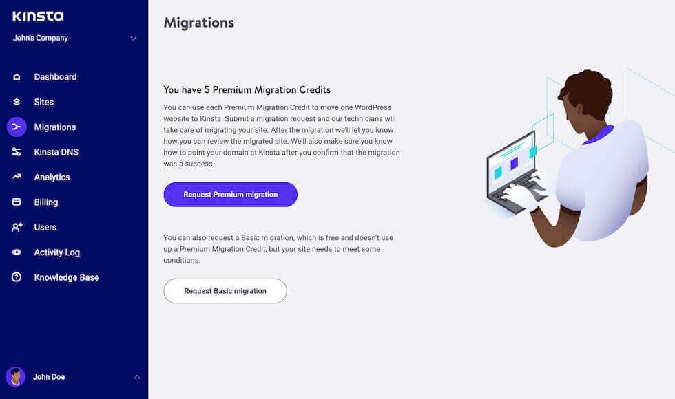 Formulario de migración de WordPress