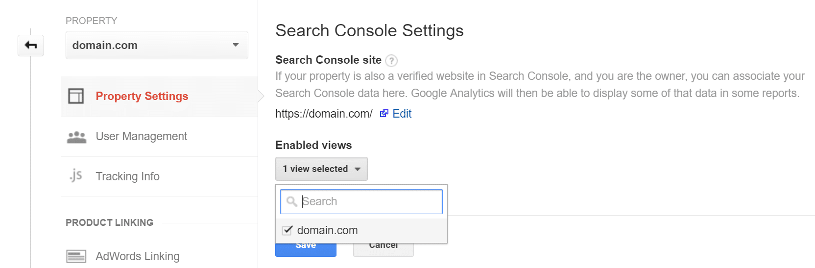 link google analytics search console