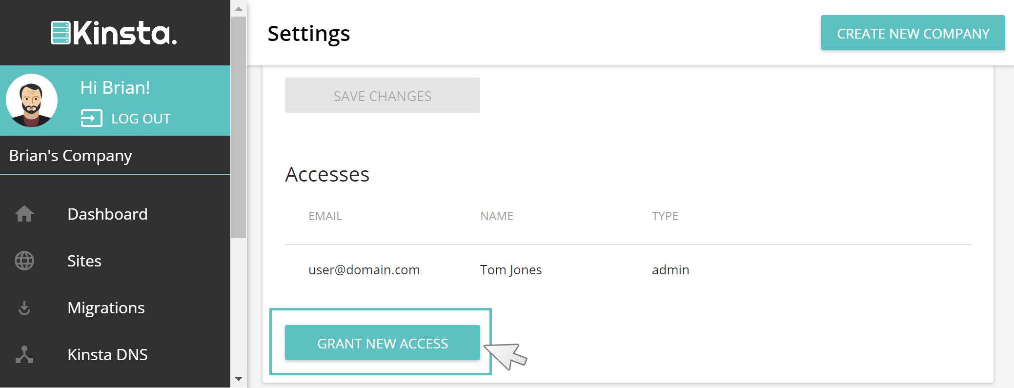 grant new access wordpress