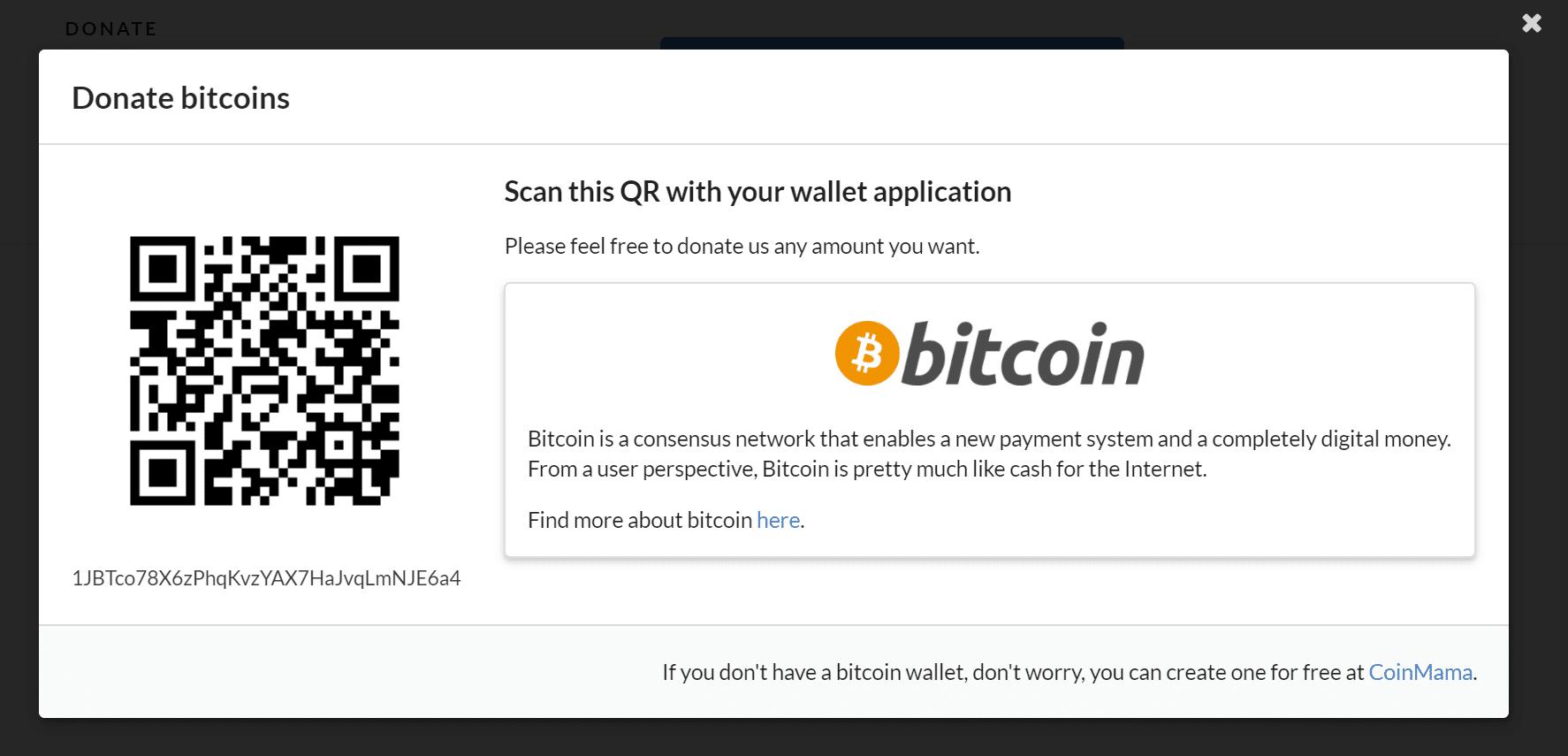 Caja de donaciones de Bitcoin