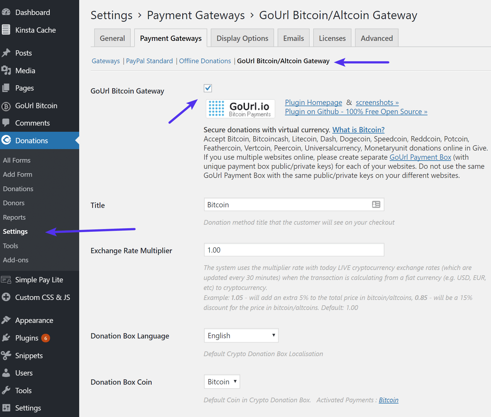 Habilitar el plugin de Bitcoin en Give