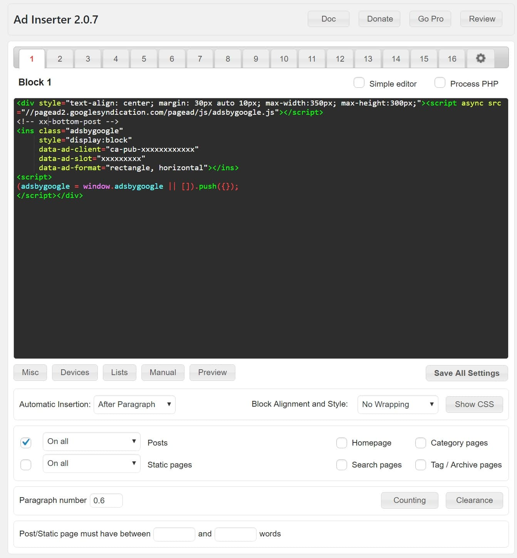 Configuración de Ad Inserter plugin