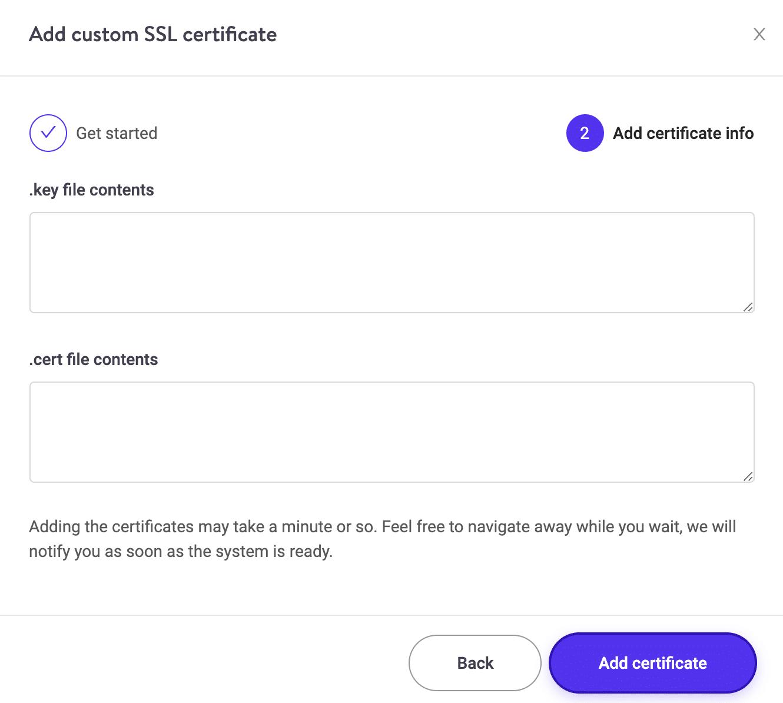 Añadir certificado SSL personalizado Paso 2