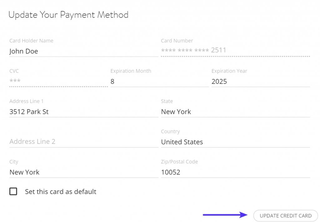 Actualizar la información de la tarjeta de crédito