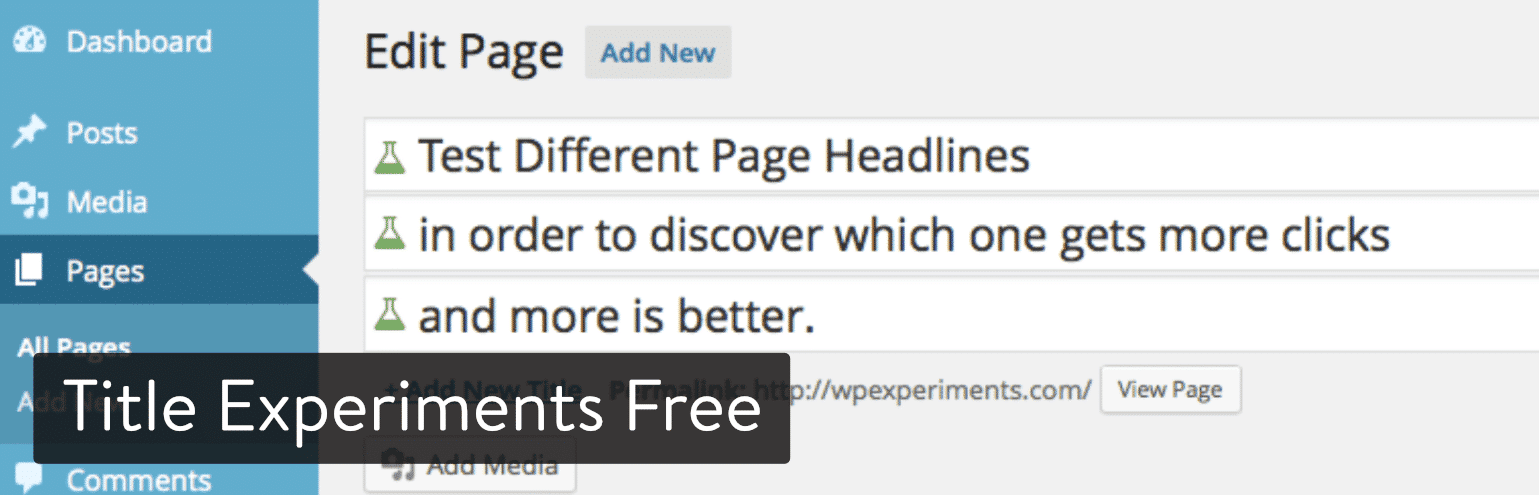 El plugin de Title Experiments Free para WordPress