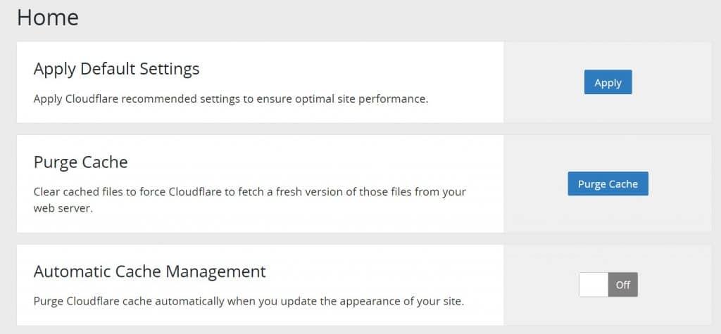 Cloudflare plugin configuración predeterminada