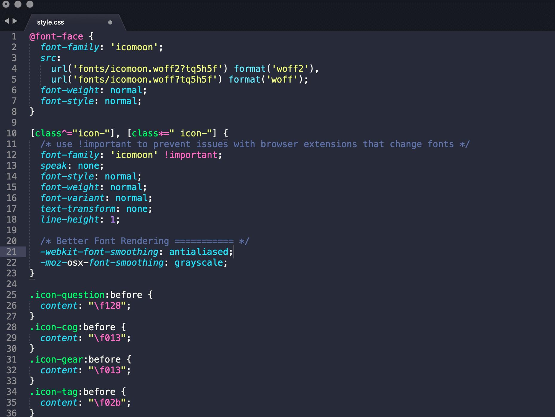 Archivo de IcoMoon CSS