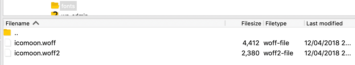 Archivos de icon font SFTP