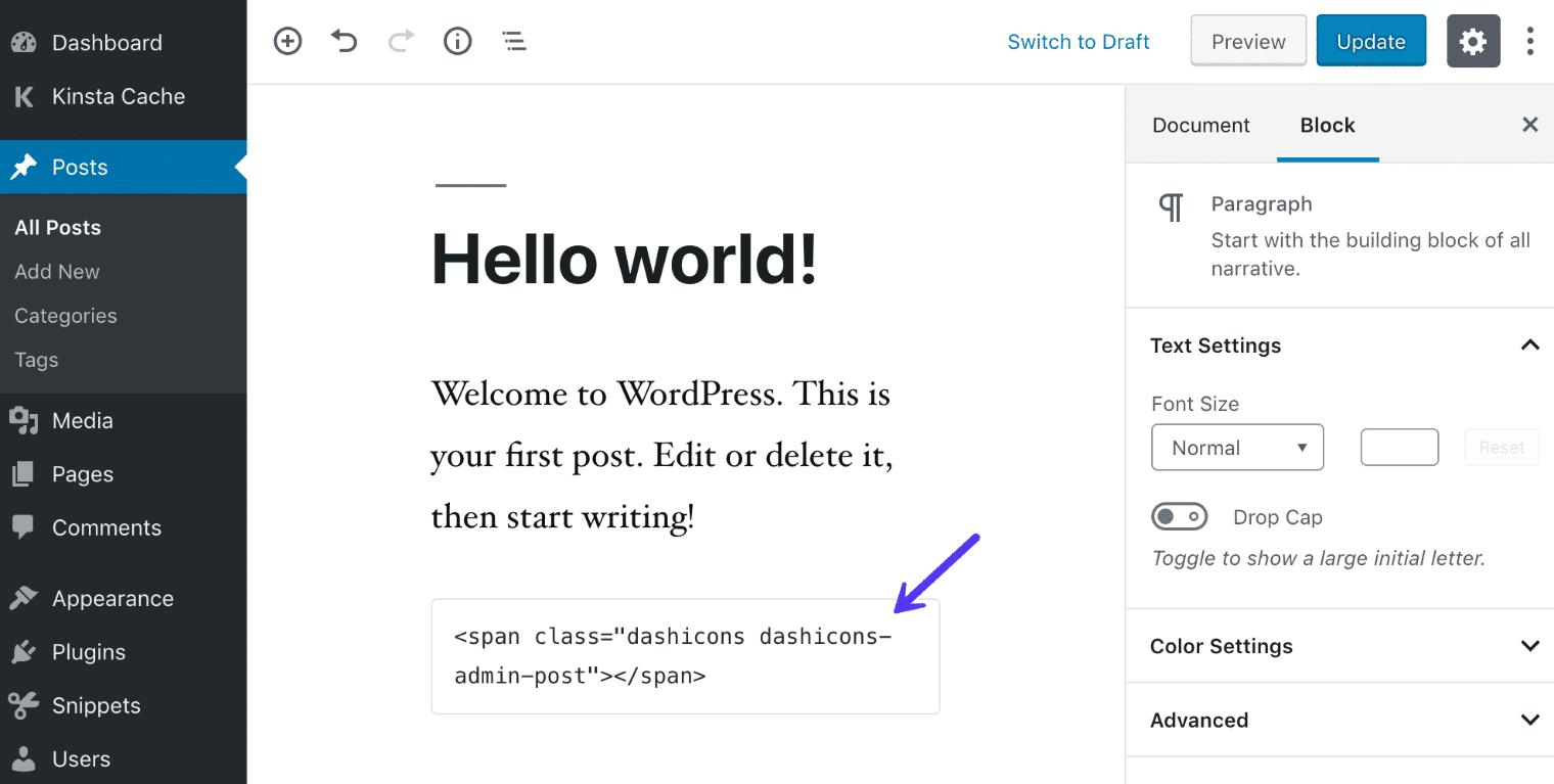 Dashicons en el bloque de HTML de Gutenberg