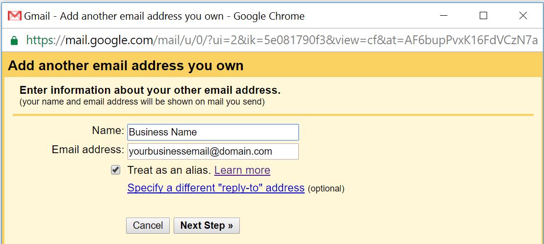 Añadir otra dirección de email