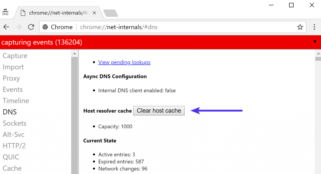 Borrar host cache en Chrome