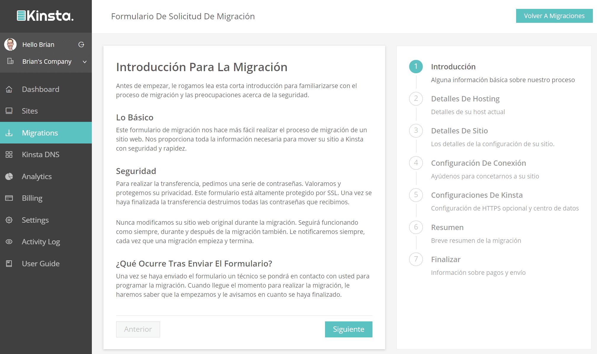 MyKinsta v2 pantalla de migración en español
