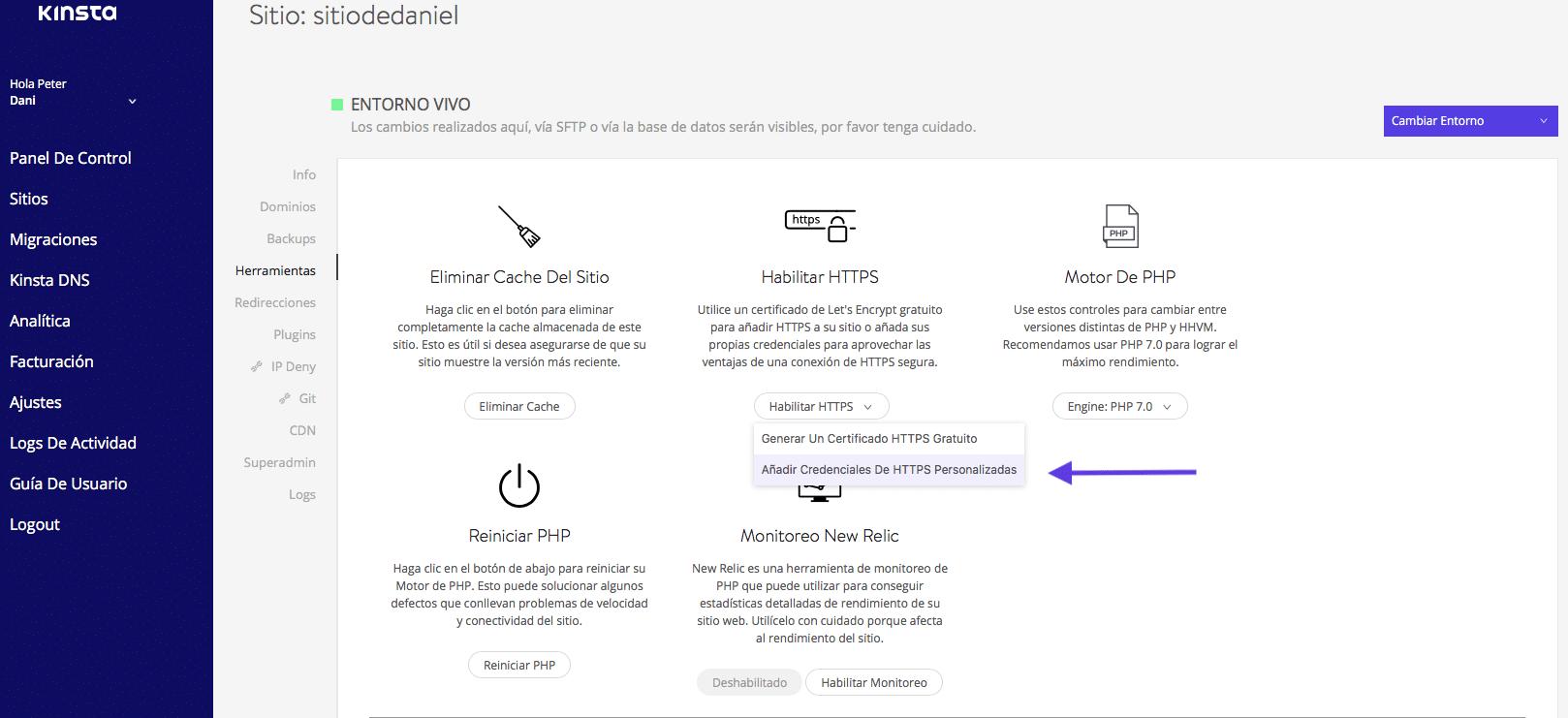 Instalar certificado SSL personalizado