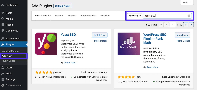 Buscando a Yoast SEO en el panel de control de WordPress
