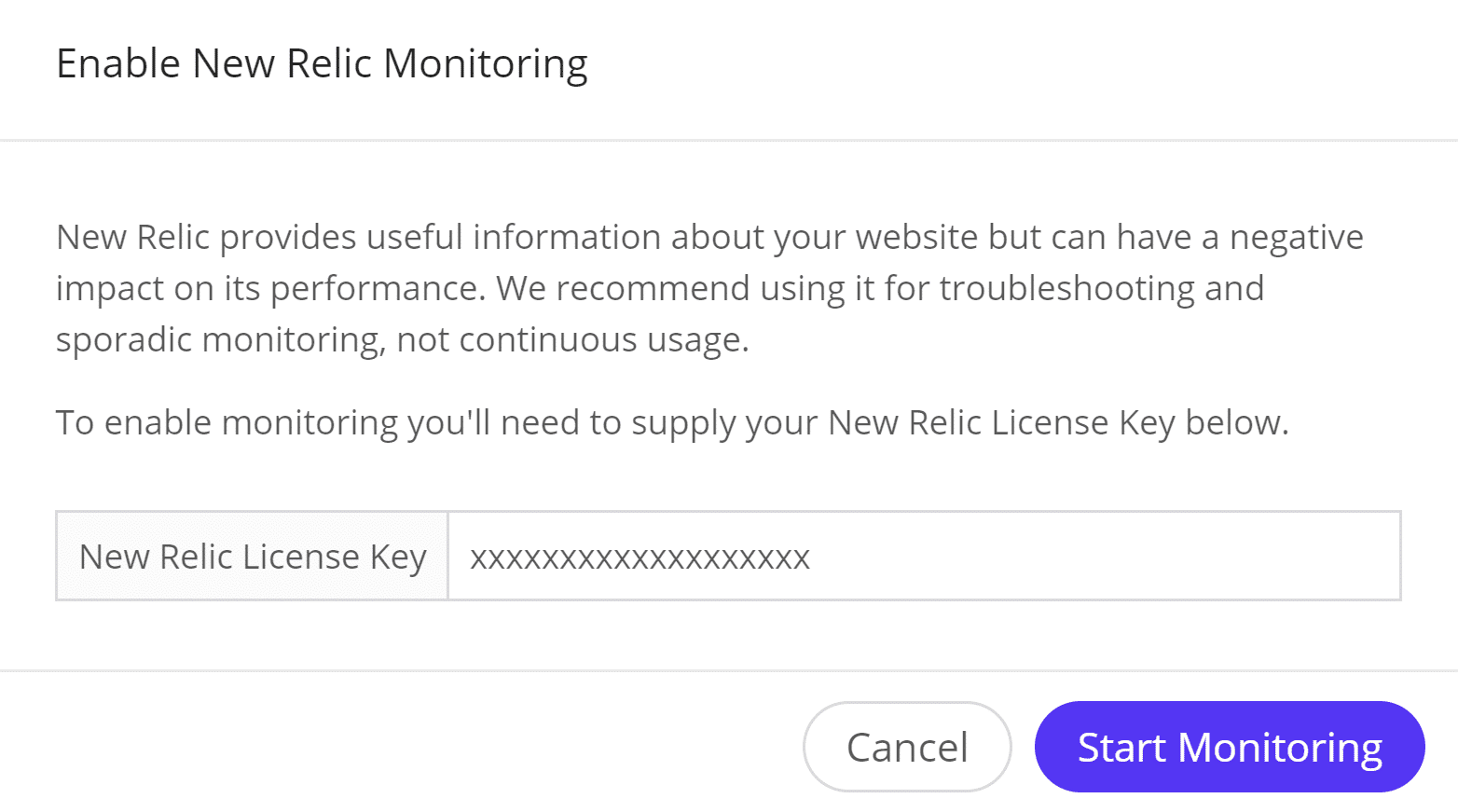 Iniciar monitoreo mediante New Relic