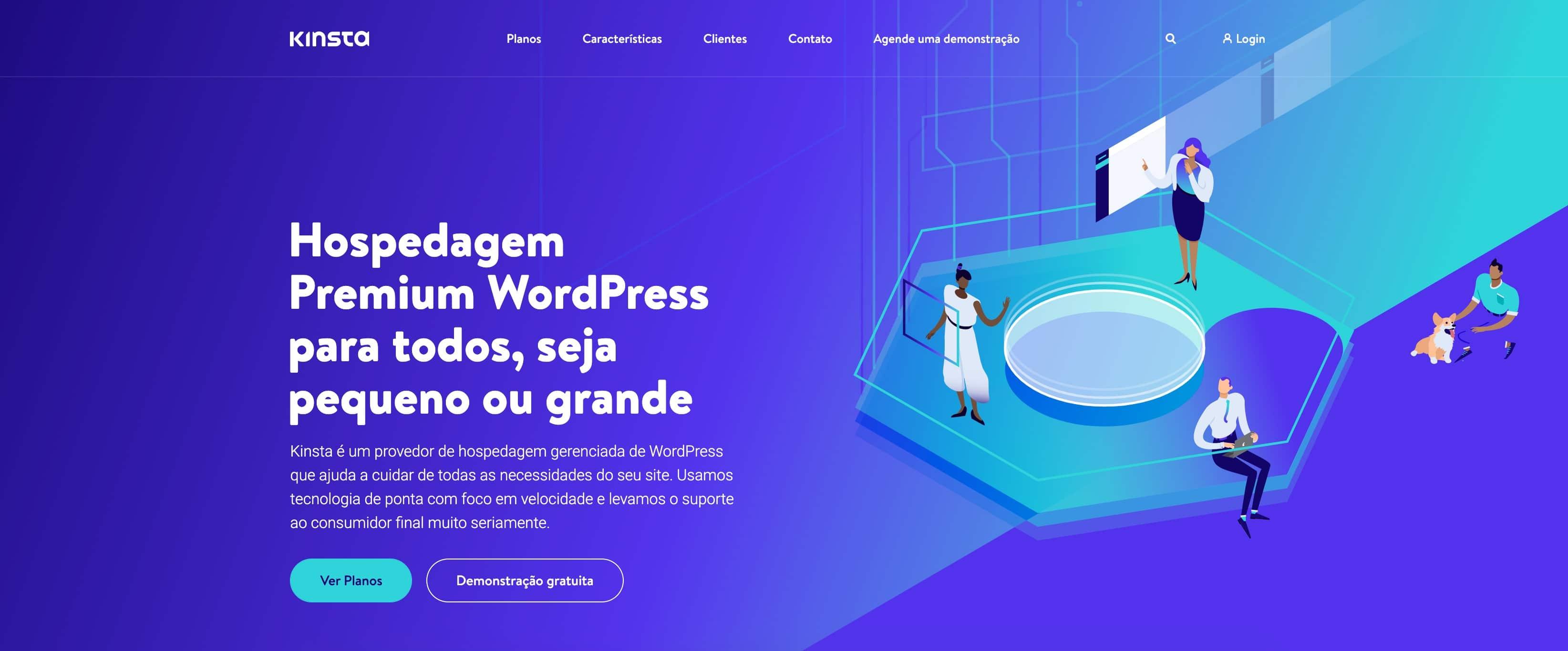 La página de inicio de Kinsta en Portugués