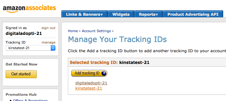 Los asociados pueden establecer sus identificaciones de rastreo en el sitio web de Amazon Affiliate Central