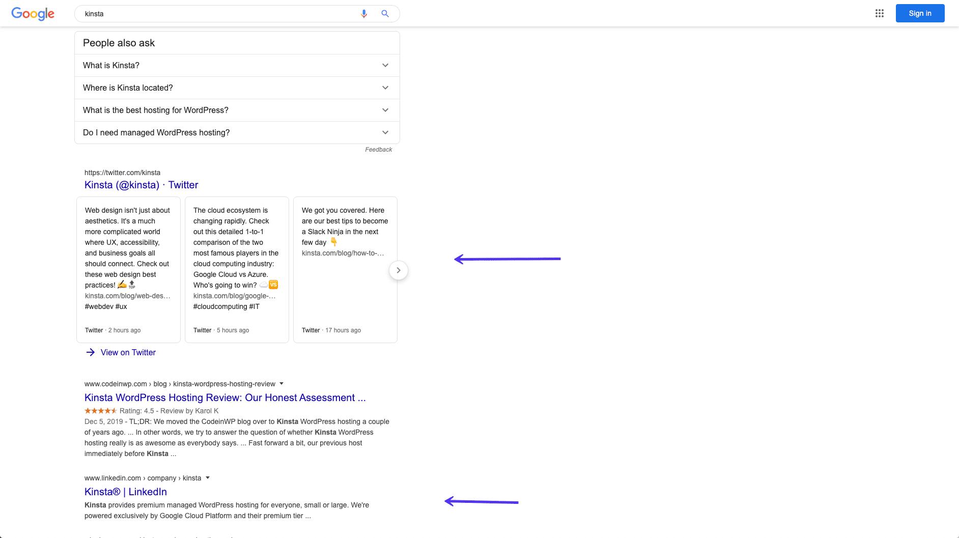 El ranking de perfiles de medios sociales de Kinsta en Google