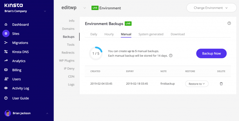 Backup del sitio WordPress