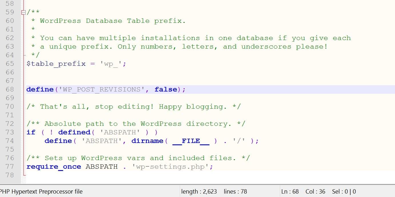 deshabilitar revisiones de wordpress