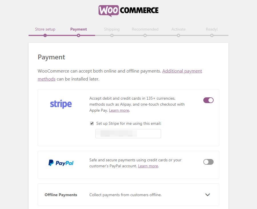Página de procesadores de pagos de WooCommerce