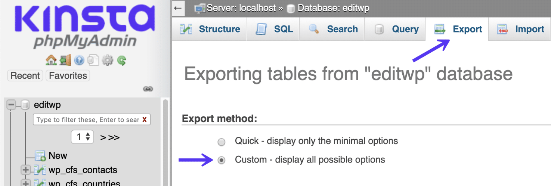 phpmyadmin export custom