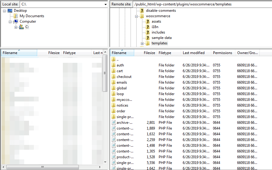Plantillas en FileZilla