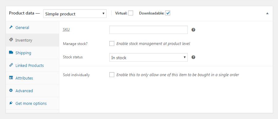 Sección de inventario de WooCommerce