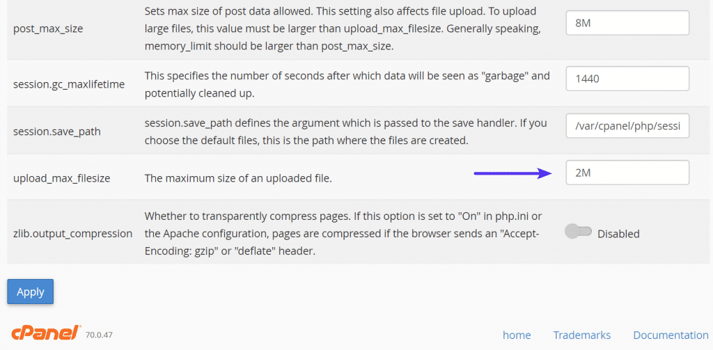 Aumentar tamaño de archivo en MultiPHP INI Editor