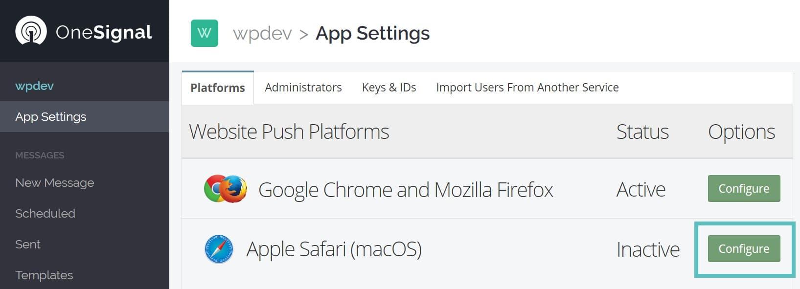 apple safari notificaiones push configuración